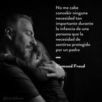 No me cabe concebir ninguna necesidad tan importante durante la infancia de una persona que la necesidad de sentirse protegido por un padre - Sigmund Freud